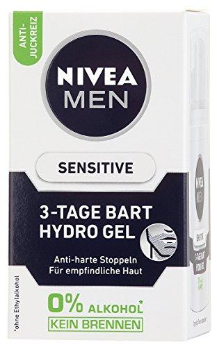 NIVEA Men, Bartpflege Gel für Männer,  50 ml Spender, Sensitive 3-Tage Bart Hydro Gel, 0% Alkohol