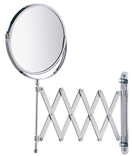WENKO Kosmetik-Wandspiegel Teleskop Exclusiv - Teleskop-Wandspiegel mit 3fach-Vergrößerung, Spiegelfläche ø 16 cm 300 % Vergrößerung, Stahl, 19 x 38.5 x 50 cm, Chrom