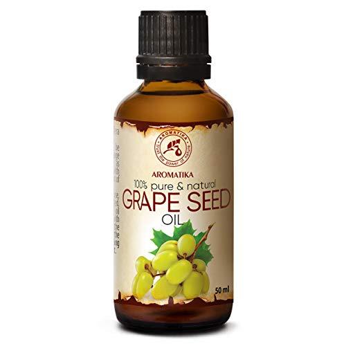 Kaltgepresstes Traubenkernöl - Traubenöl 100% Rein Und Natürlich 50ml - Glasflasche - - Vitis Vinifera - Italien – Körperöl - Intensive Pflege Gesicht - Körper - Haare - Kosmetik - Körperpflege